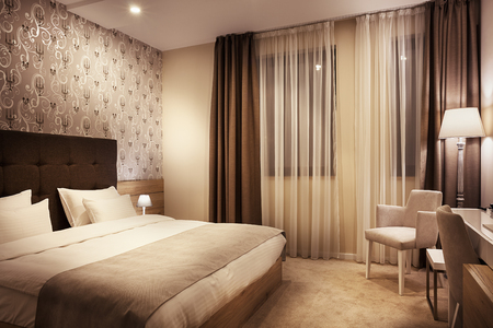 hotel stay: Modern interior of a hotel room for two, calm ambience with retro lamps and comfortable furniture.