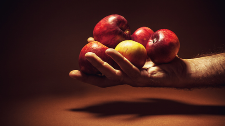 expresion corporal: Conceptual composition about choosing healthy life, male hand holding red apples.