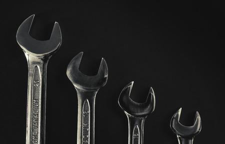 chrome vanadium: Set of four wrenches of different sizes. Stock Photo