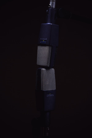condensers: Two microphones for recording stereo sound, on stands in dark ambiance.