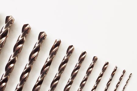 professional flute: Closeup macro view of set of drill bits.