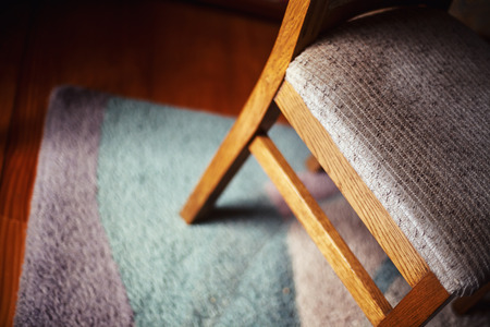 domestic life: Details of a chair, focus on seating material.