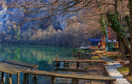Landscape of a weekend settlement on river, West Morava river in Serbia. Stock Photo