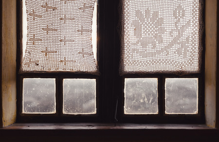 old windows: Wooden window of an old house, interior view. Stock Photo