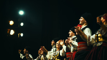 Cacak, Serbia - February 26, 2017: Special moments from 18th Festival of Serbian Folklore ensembles held in Dom Kulture Cacak, cultural institution. Best 16 amateur ensembles from all around Serbia came to dance and compete.