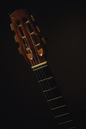 frets: Gypsy acoustic guitar neck on dark background.