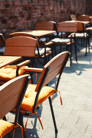 restaurant tables: Details of tables and chairs of a restaurant.