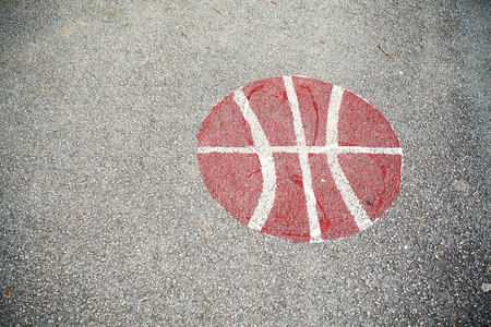 Details of a basketball courtyard asphalt signs.