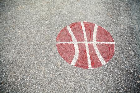 Details of a basketball courtyard asphalt signs.