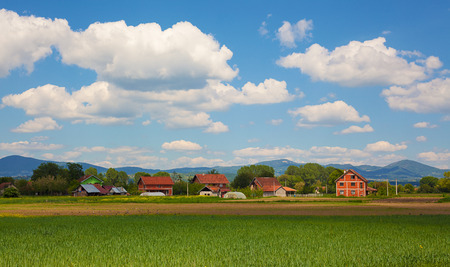 Landscape of a village, countryside scene during spring in Serbia.
