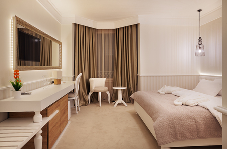 Interior of a modern and new hotel room. Stock Photo