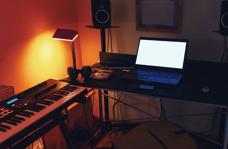 Details of small, modern and simple home recording studio. Banco de Imagens