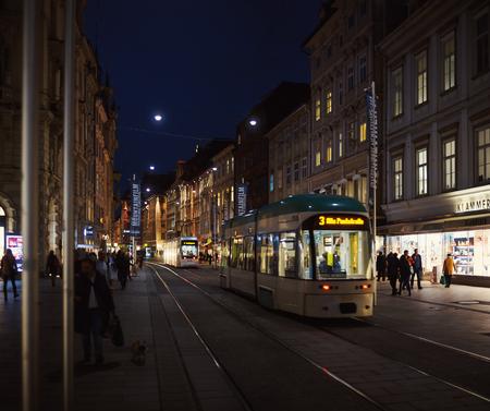 Graz, Austria - November 09, 2017: Street of Graz, architectural and infrastructural details. Editorial
