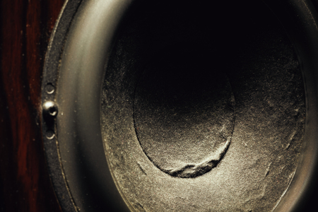 Details of speaker woofer cone, closeup view.  Stock Photo