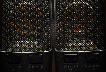 Closeup view on modern condenser microphone, membrane and pattern details. Stock Photo