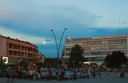 Cacak, Serbia - July 26, 2018: Downtown details during evening, summer season, main public square architecture structure.