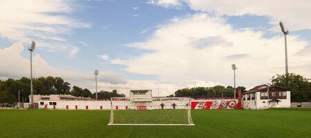 Cacak, Serbia - July 27, 2018: Subsidiary football yard of football club Borac, empty field with view on main stadium. Redactioneel