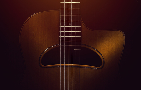 Details of old retroacoustic guitar, gypsy jazz in style of Django.