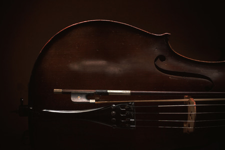 Part of an old dusty cello, details of old wood and strings, accentuated shapes in dark.