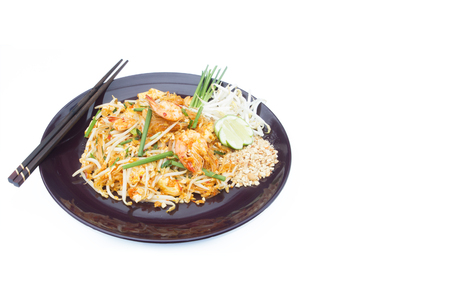 bean sprouts: Thai food Pad thai , Stir fry noodles with shrimp in padthai style isolate white background. Stock Photo