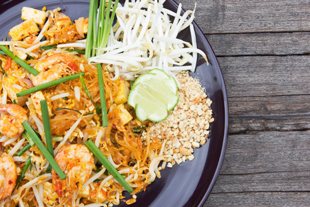 thailand: Fried noodle Thai style with prawns. Stock Photo