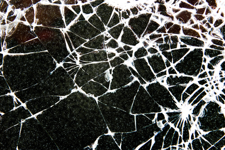 shattered glass: Broken glass.
