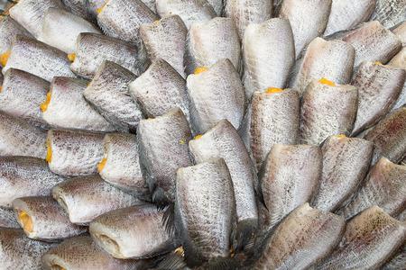 spoilage: Snakeskin Gourami Fish,Pla Salit fish Trichogaster pectoralis dry overlay local cuisine thailand.