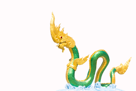 khong river: Serpent king or king of naga statue isolated on white.