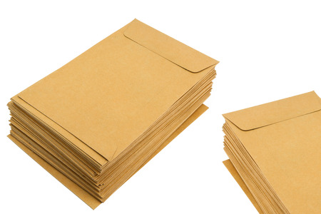 categorize: brown document case stacked isolate on white background.