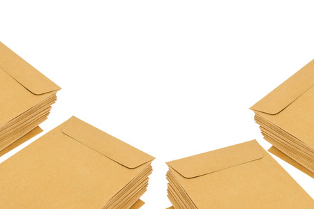 sort out: brown document case stacked isolate on white background.