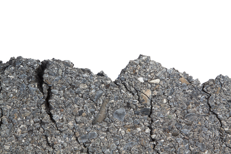 fissures: Part of asphalt cracks on the road isolate on white background.