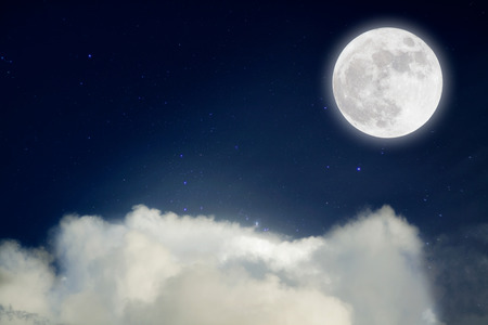 glister: romantic night, Blue sky with full moon and star .