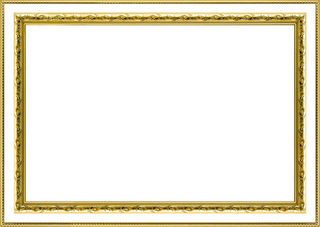 gilded: Classic vintage  gilded frame isolated on white background.