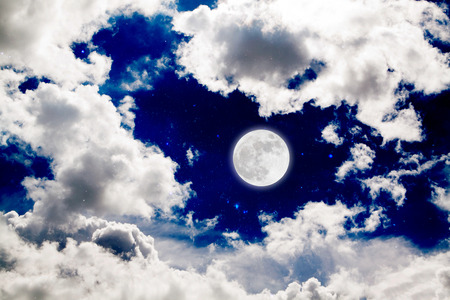 starry night: Romantic Moon In Starry Night Over Clouds. Stock Photo