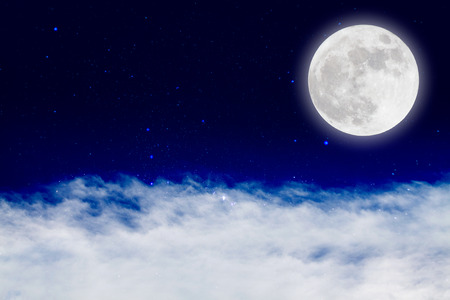 full moon romantic night: Romantic night with full moon in space over stars with cloudscape background.