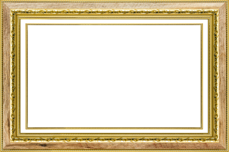 gilded: Classic vintage wood with gilded  frame isolated on white background.