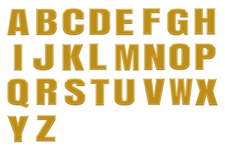 alphabetic: Golden alphabetic fonts.