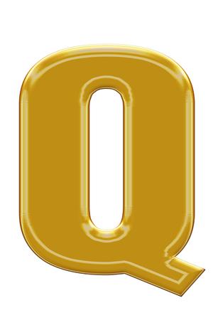 Golden alphabetic fonts.Q.