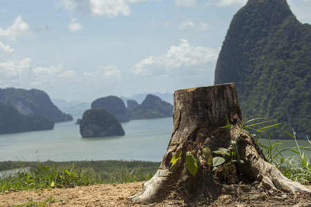 wonderful thailand: Wonderful islands and sea at the view point of Samet Nangche , Phungnga ,Thailand . Majestic view of Phungnga ,Thailand. Wonderful landscape concept. Stock Photo