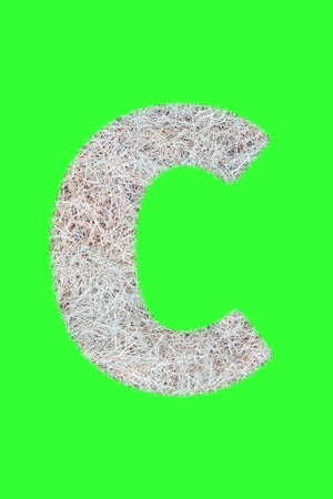 Fonts and Alphabet From Drygrass or Hay Isolate on Green. C. Stock Photo