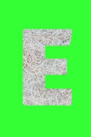 Fonts and Alphabet From Drygrass or Hay Isolate on Green. E.