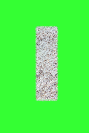 Fonts and Alphabet From Drygrass or Hay Isolate on Green. I.