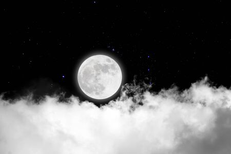 Full moon with starry and clouds background. Dark night. Фото со стока - 126405560