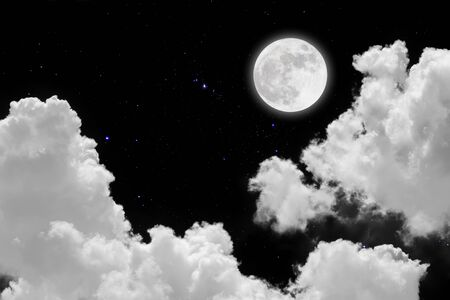 Full moon with starry and clouds background. Dark night. Stock Photo