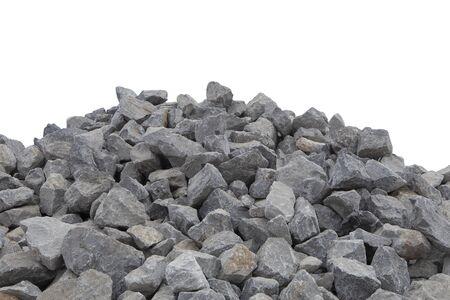 Des tas de pierre concassée isoler sur blanc. Banque d'images