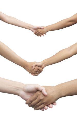 Serrer la main isolé sur blanc. Concept d'entreprise. Tracé de détourage.