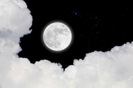 Full moon with starry and clouds blurred background. Romantic night.