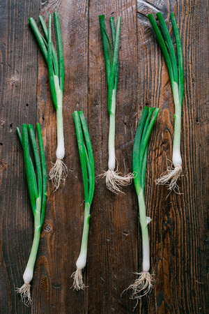 green onions: Green Onions on a wooden background