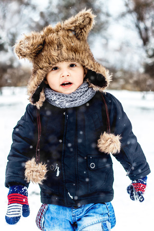 Boy having fun in the snow