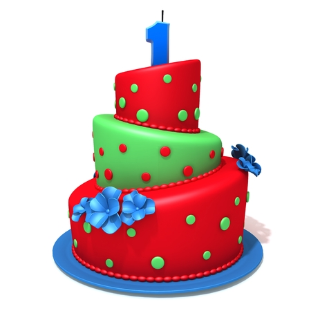 eating cake: Birthday cake with number one 3d illustration